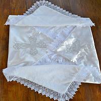 Крыжма нарядная для крещения с вышивкой, отделанная кружевом, для мальчика. для девочки