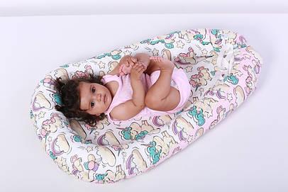 Кокон - гнездышко для новорожденного с единорогами