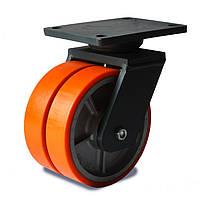 Колеса сдвоенные поворотные Фрегат 51 26x2 200 ШФ, диаметр 200 мм, нагрузка 1800 кг (Полиуретан /  чугун)