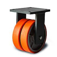 Колеса сдвоенные неповоротные, диаметр 200 мм, нагрузка 1800 кг, Фрегат 51 16x2 200 ШФ (Полиуретан /  чугун)