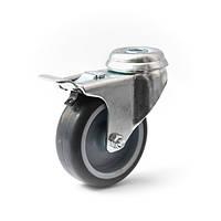 Колеса с поворотным кронштейном с тормозом с отверстием, диаметр 75 мм, нагрузка 60 кг, Фрегат 60 90 075 СК (Аппаратные колеса (эконом серия))