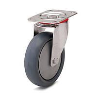 Колеса с поворотным кронштейном с площадкой, диаметр 160 мм, нагрузка 180 кг, Фрегат 62 20 160 ШТ (Серая термопластичная резина / полипропилен