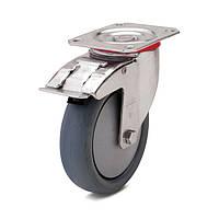 Колеса поворотные с тормозом с площадкой, диаметр 80 мм, нагрузка 80 кг, Фрегат 62 30 080 ШТ (Серая термопластичная резина / полипропилен (комфорт