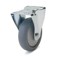 Колеса с неповоротным кронштейном, диаметр 80 мм, нагрузка 70 кг, Фрегат 62 10 080 РК (Серая термопластичная резина / полипропилен (комфорт серия))