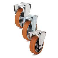Колеса с неповоротным кронштейном Фрегат 50 10 200 ШФ, диаметр 200 мм, нагрузка 300 кг (Полиуретан / алюминий)