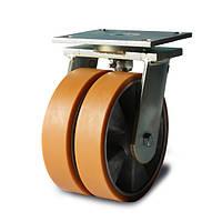 Колеса сдвоенные поворотные Фрегат 50 25x2 200 ШТ, диаметр 200 мм, нагрузка 1000 кг (Полиуретан / алюминий)