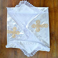 Крыжма для крещения с вышивкой, для мальчика, для девочки, с кружевом, из натуральной ткани