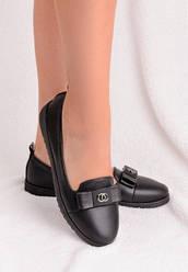 Туфли стильные с логотипом, эко-кожа