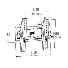 Наклонный кронштейн для телевизоров 23-43 диагонали KБ-61М (max VESA: 200 x 200), фото 2