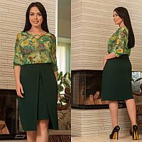 a5e1bb9da51 Юбка асиметрическая батал размеры 48-62 цвет зеленый ткань костюмный креп