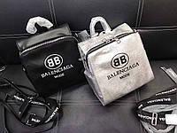 Женский рюкзак брендовый Balenciaga дорогой Китай черный, серебрянный, фото 1