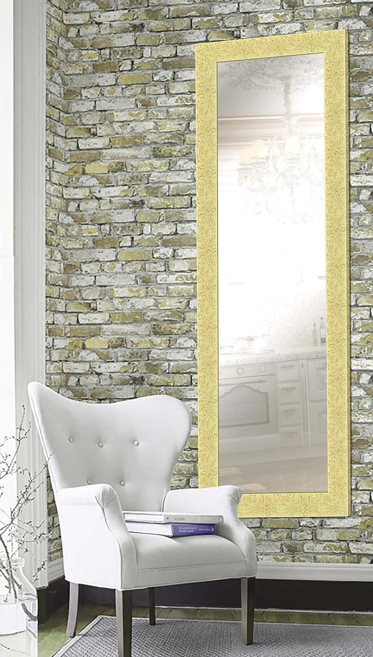 Настенное зеркало в раме дерево Италия, золото, 61х176 в прихожую комнату, в спальню, коридор