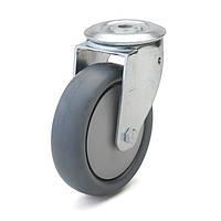 Колеса с поворотным кронштейном с отверстием, диаметр 80 мм, нагрузка 80 кг, Фрегат 62 80 080 ШТ (Серая термопластичная резина / полипропилен (комфорт