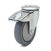 Колеса с поворотным кронштейном с тормозом с отверстием, диаметр 125 мм, нагрузка 100 кг, Фрегат 62 90 125 РК (Серая термопластичная резина /
