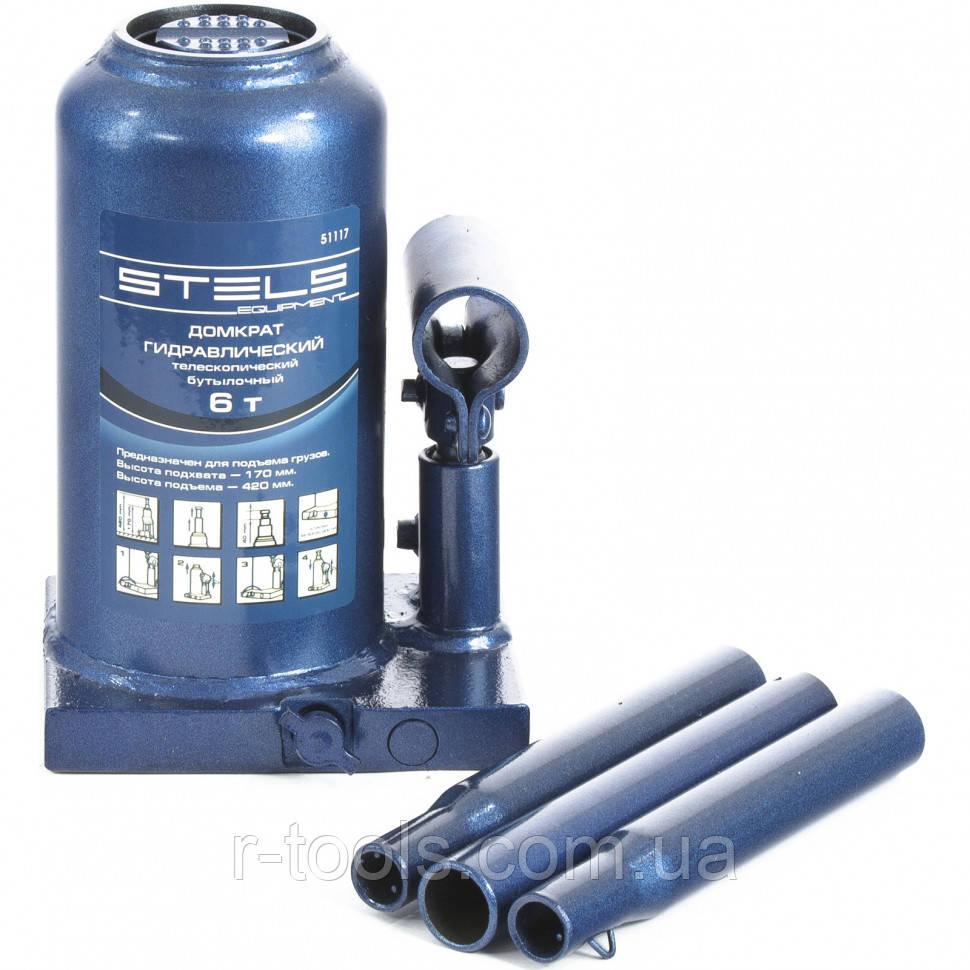 Домкрат гидравлический бутылочный телескопический 6 т h подъема 170–420 мм STELS 51117