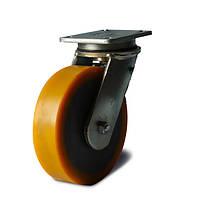 Колеса с поворотным кронштейном с площадкой, диаметр 200 мм, нагрузка 850 кг, Фрегат 47 25 200 ШИ (Литьевой полиуретан / полиамид (профи серия))