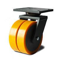 Колеса сдвоенные поворотные, диаметр 200 мм, нагрузка 1000 кг, Фрегат 47 25x2 200 ШИ (Литьевой полиуретан / полиамид (профи серия))