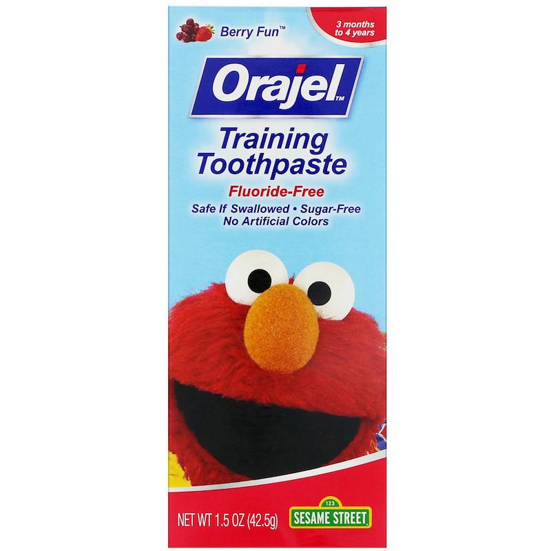 Orajel, Sesame Street Training Toothpaste, Flouride-Free, 3 Months to 4 Years, Berry Fun, 1.5 oz (42.5 g)