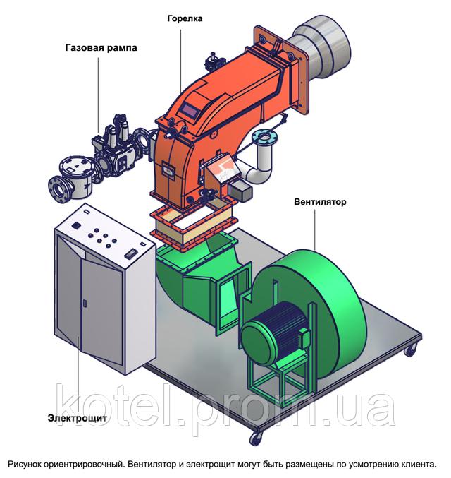 Схематическое изображение промышленной газовой горелки Unigas с отдельным вентилятором