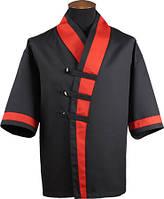 Кимоно поварское черное с красными вставками Atteks - 00916