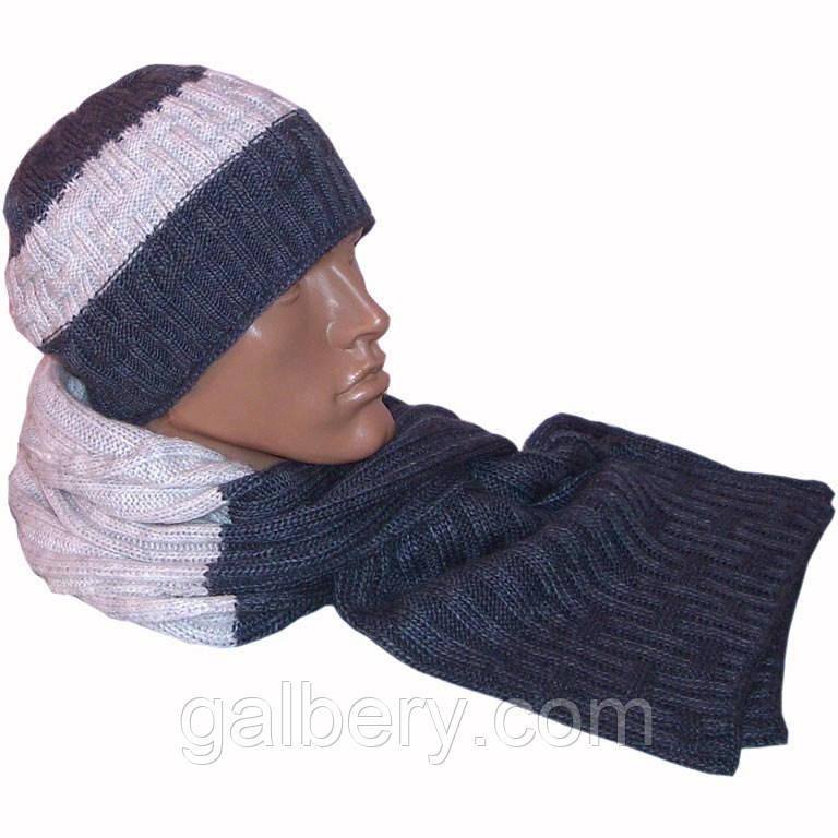 Мужская вязаная шапка (утепленный вариант) и шарф-петля