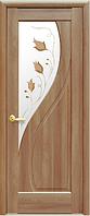 Дверное полотно Прима Со стеклом сатин и рисунком Р1 Золотая ольха