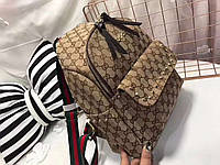 Женский рюкзак брендовый Gucci Гуччи плотный текстиль дорогой Китай
