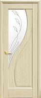 Дверное полотно Прима Со стеклом сатин и рисунком Р2 Ясень
