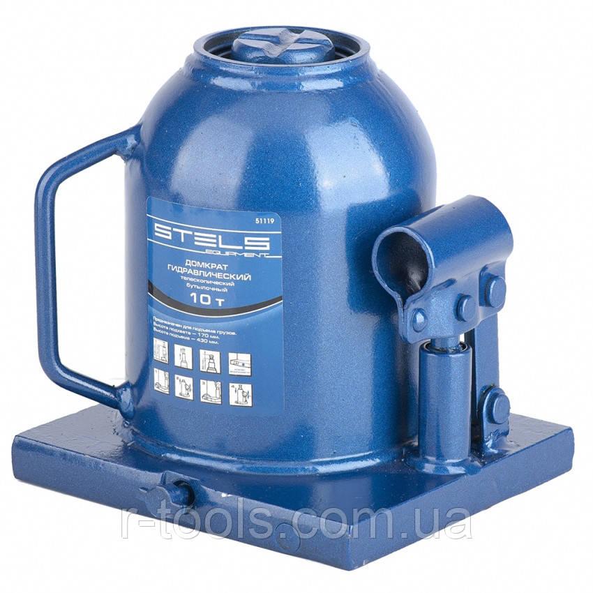 Домкрат гидравлический бутылочный телескопический 10 т h подъема 170–430 мм STELS 51119