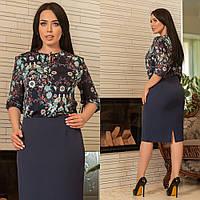 def6c97227d Блуза шифоновая с красивым принтом Ткань  трикотаж масло + шифон размеры  48-62 цвет