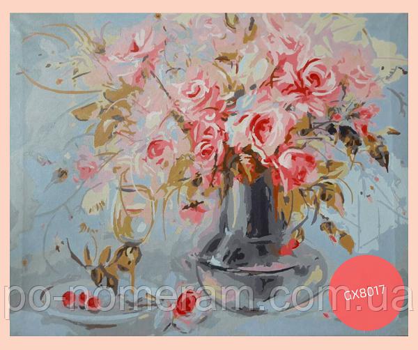 картина акрилом розы