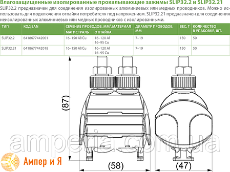 Зажим прокалывающий SLIP32.2 Al(16-150/16-120) или Cu(16-150/16-95) ENSTO, фото 2