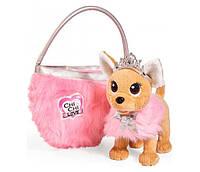 """Собачка Чихуахуа Chi Chi Love """"Фэшн. Принцесса красоты"""" в меховом манто, тиарой и сумочкой, 20 см (5893126)***"""