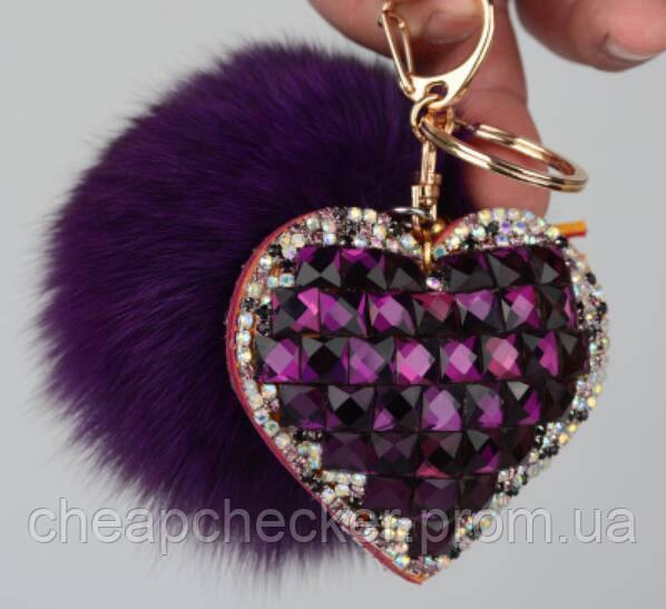 Брелок Меховой Помпон с Сердцем на Сумку для Модниц