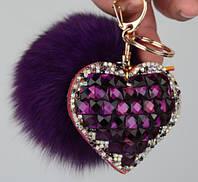 Брелок Меховой Помпон с Сердцем на Сумку для Модниц, фото 1