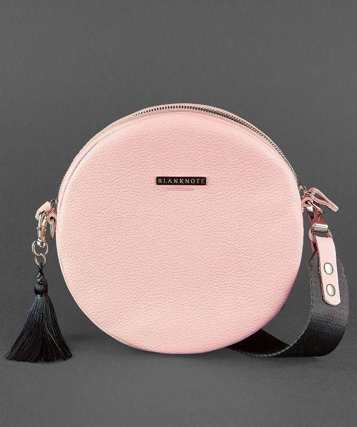 Сумочка круглая, кросс-боди натуральная кожа женская розовая (ручная работа)