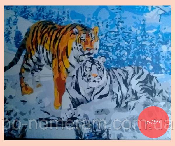 картина акрилом тигры