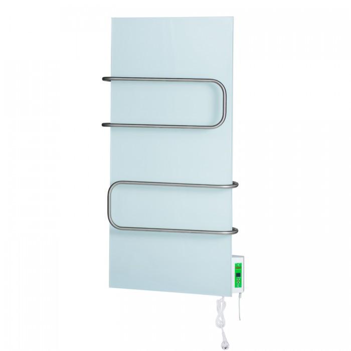 DIMOL Standart 07 з терморегулятором (біле скло, рейлінги) з сушкою рушників 370Вт