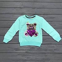 Детский Джемпер для девочек с двусторонними пайетками оптом р.1-8 лет, фото 1