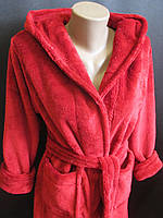 Банный халат бордового цвета., фото 1