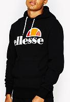 Худи Ellesse черное с лого, унисекс (мужское, женское, детское)