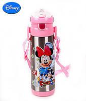 Детский Вакуумный Термос с Трубочкой Поилкой ZK G 604 Pink Disney Дисней 500 мл, фото 1