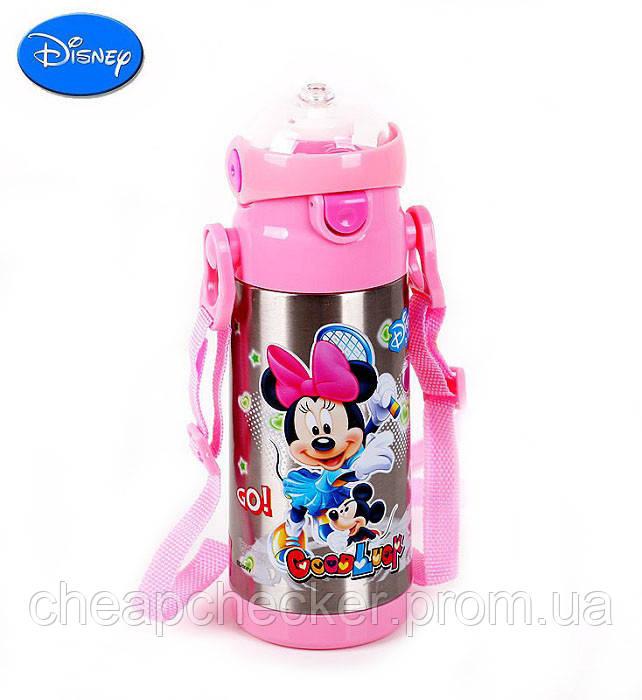Детский Вакуумный Термос с Трубочкой Поилкой ZK G 603 Pink Disney Дисней 350 мл, фото 1