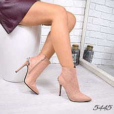 """Ботильоны женские на шпильке,пудровые """"Lina"""" легкий флис,эко замша, повседневная обувь, ботинки женские, фото 3"""