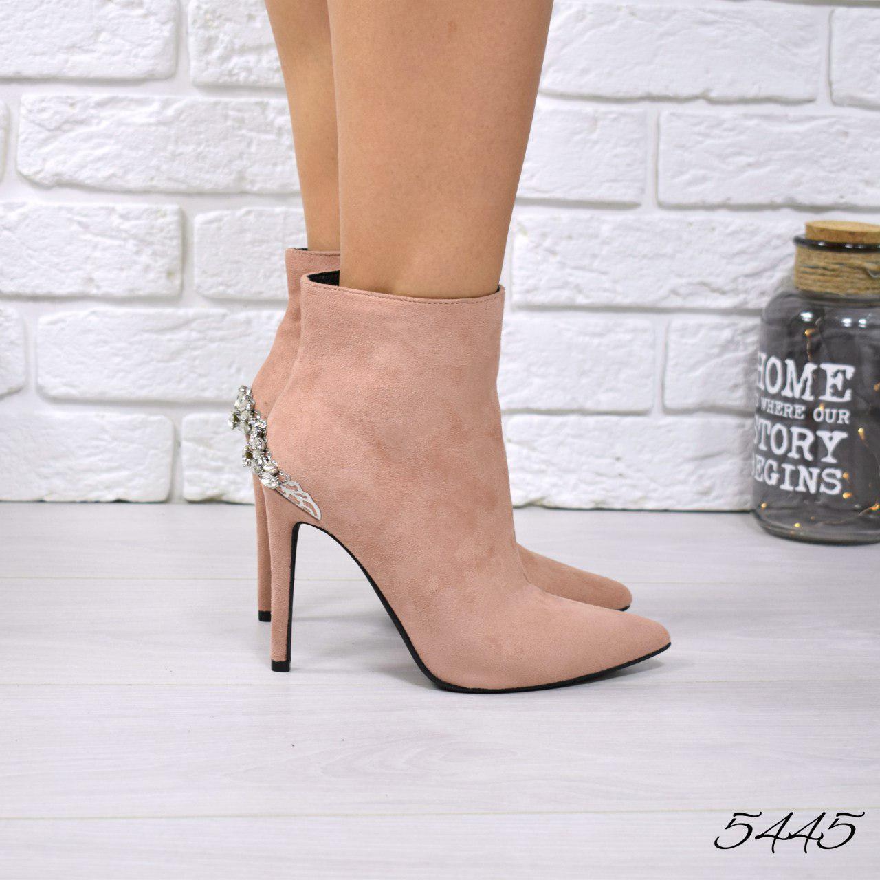 """Ботильоны женские на шпильке,пудровые """"Lina"""" легкий флис,эко замша, повседневная обувь, ботинки женские"""