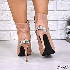 """Ботильоны женские на шпильке,пудровые """"Lina"""" легкий флис,эко замша, повседневная обувь, ботинки женские, фото 2"""