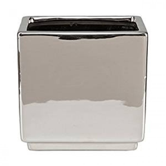 Кашпо для цветов MIRROR SILVER керамика 13 зеркальный куб