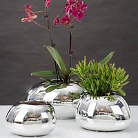 Кашпо для цветов MIRROR SILVER керамика 22 зеркальный