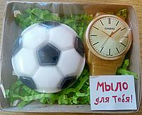 Мыло ручной работы. футбольный мяч+часы