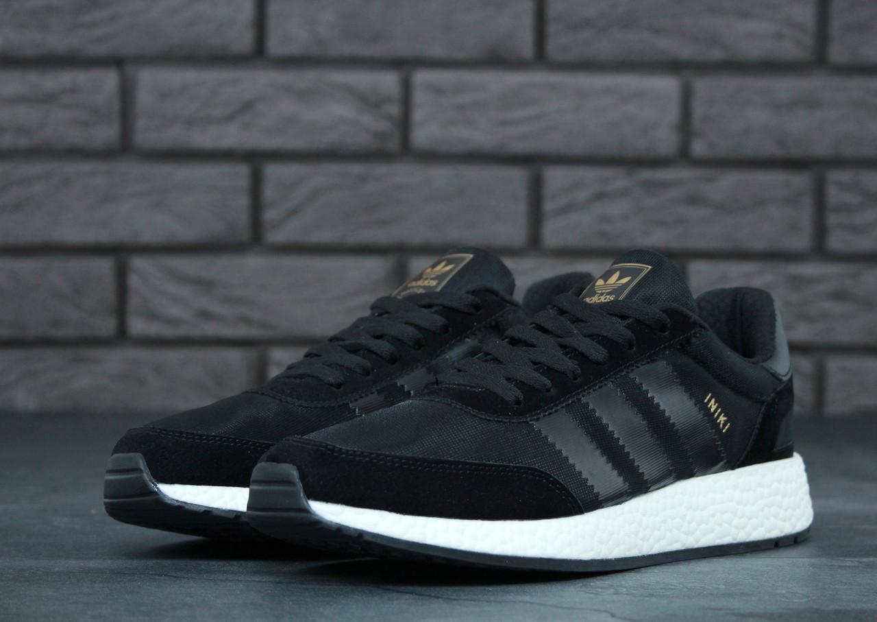 Кроссовки черные мужские Адидас Иники (Adidas Iniki) размер 40, 41, 42, 43, 44, 45 реплика